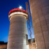 Concrete silos at night - copyright Wright Photographic