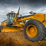 Caterpillar grader on site - copyright Wright Photographic
