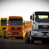 MAN trucks in convoy - copyright Wright Photographic